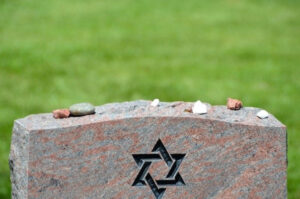 Pic of Jewish headstone with rocks on top